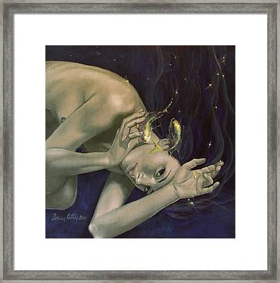 Pisces From Zodiac Series Framed Print by Dorina  Costras
