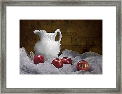 Pitcher With Apples Still Life Framed Print by Tom Mc Nemar