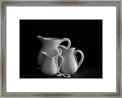 Pitchers By The Window In Black And White Framed Print by Sherry Hallemeier