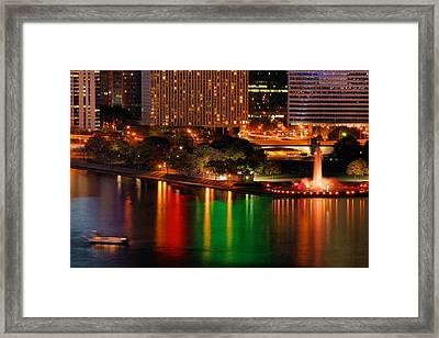 Framed Print featuring the photograph Pittsburgh At Night by Michelle Joseph-Long