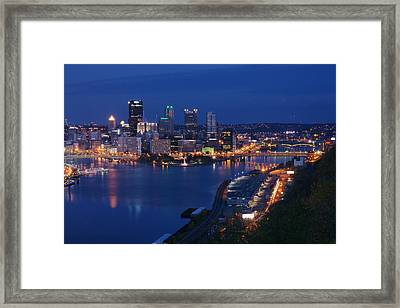 Framed Print featuring the photograph Pittsburgh In Blue by Michelle Joseph-Long
