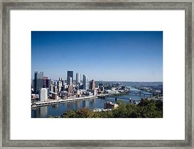 Pittsburgh Skyline And Allegheny River Framed Print by Everett