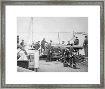 Pivot Gun Crew On The Uss Miami Framed Print by Everett