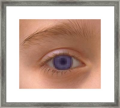 Pixellated Eye Framed Print by Victor De Schwanberg