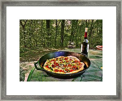 Framed Print featuring the photograph Pizza And Vino by William Fields