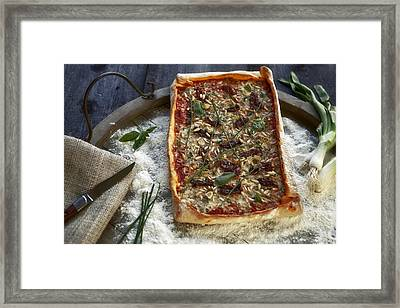 Pizza With Herbs Framed Print