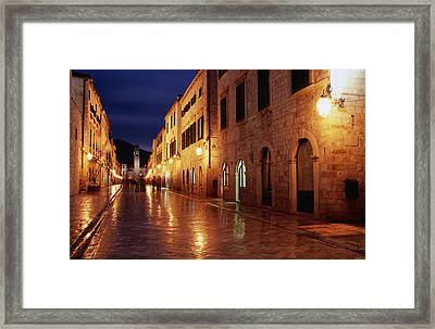 Placa At Twilight, Dubrovnik, Croatia Framed Print by Lonely Planet