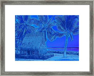 Framed Print featuring the digital art Place Of Refuge In Blue by Kerri Ligatich