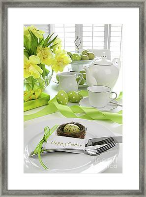 Place Setting With Card For Easter Brunch Framed Print by Sandra Cunningham