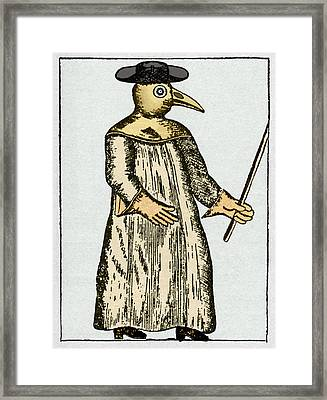 Plague Doctor, France, 18th Century Framed Print by Sheila Terry