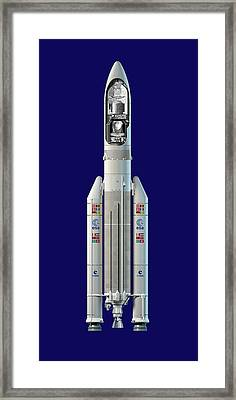Planck And Herschel Rocket, Artwork Framed Print by David Ducros