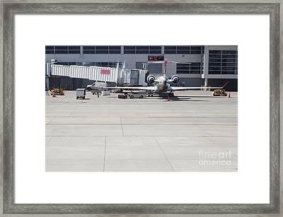 Plane At Gate Framed Print