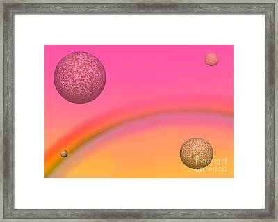 Planets And Rainbow Framed Print