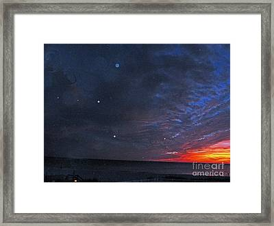 Planets Revealed At Sunset Framed Print by Joan McArthur