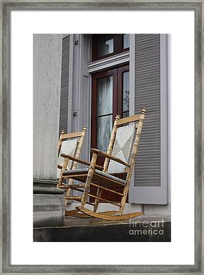 Plantation Rocking Chairs Framed Print by Carol Groenen