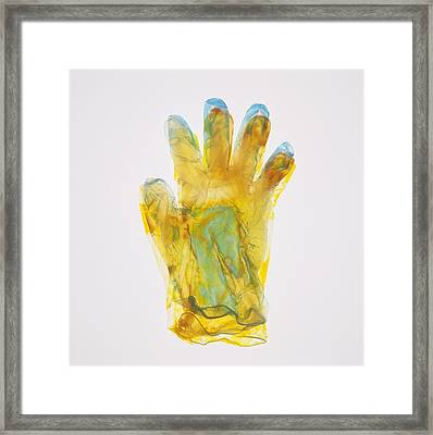 Plastic Glove Framed Print by Kevin Curtis