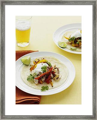 Plate Of Chicken And Peppers In Tortilla Framed Print