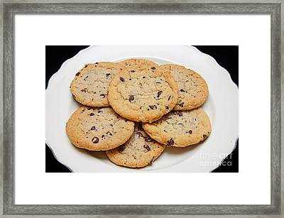Plate Of Chocolate Chip Cookies Framed Print by Andee Design