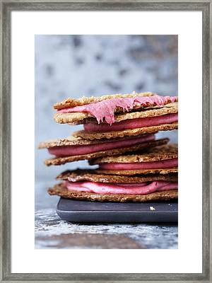 Plate Of Crackers With Fruit Filing Framed Print by Cultura/Line Klein