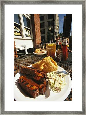 Plate Of Ribs And Rings At Famous Sonny Framed Print by Richard Nowitz