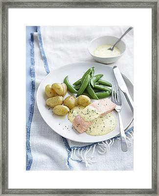 Plate Of Salmon, Potatoes And Beans Framed Print
