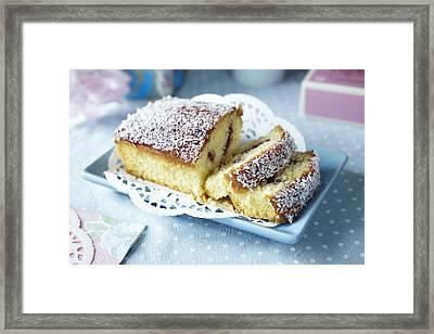 Plate Of Sliced Fruit Cake Framed Print by Debby Lewis-Harrison
