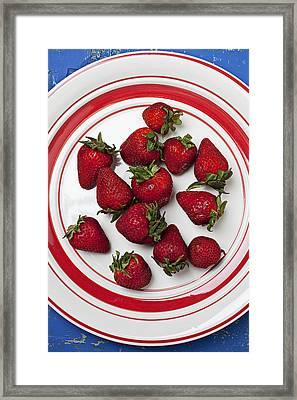 Plate Of Strawberries Framed Print