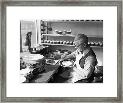 Plate Painter Framed Print by L Blandford