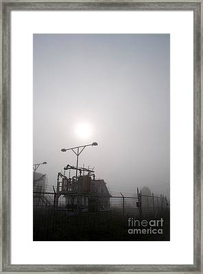 Platform At Petrocor In The Fog Framed Print by Gary Chapple