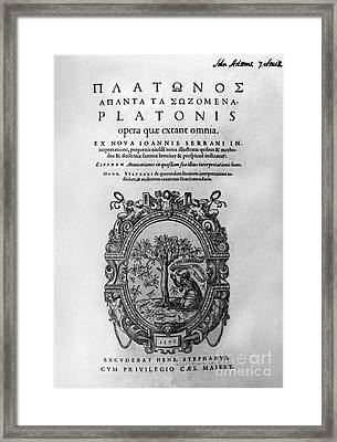 Plato: Title Page Framed Print by Granger