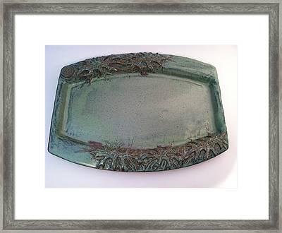 Platter With Pin Oak Leaves Framed Print by Carolyn Coffey Wallace
