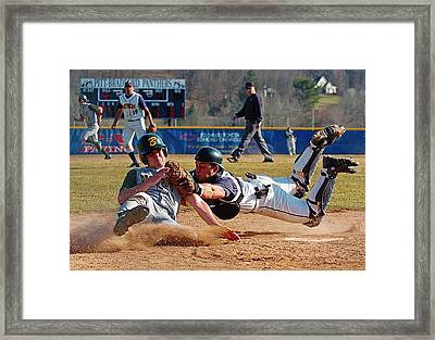 Play At The Plate Framed Print by Wade Aiken