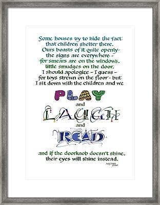 Play Laugh Read Framed Print