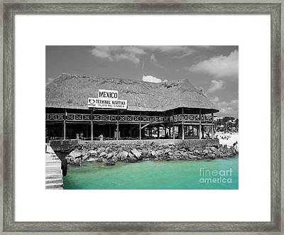 Framed Print featuring the photograph Playa Del Carmen Mexico Maritime Terminal Color Splash Black And White by Shawn O'Brien
