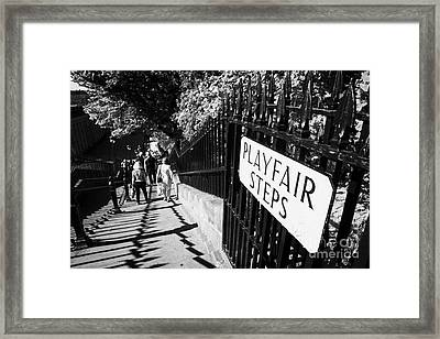 Playfair Steps Down Into Princes Street Gardens Edinburgh Scotland Uk United Kingdom Framed Print by Joe Fox
