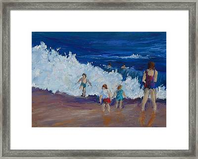 Playing At Waters Edge Framed Print by Lorrie Turner