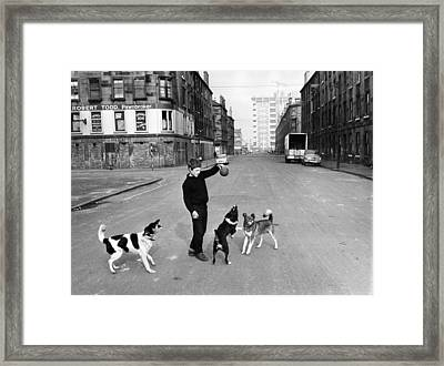 Playing In Street Framed Print by Albert McCabe