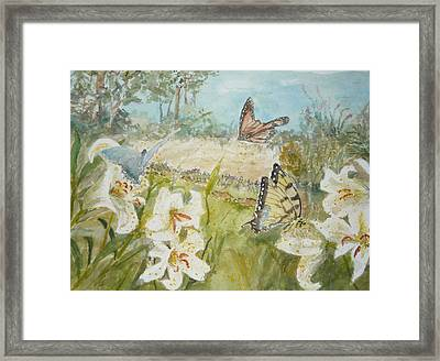 Playing In The Garden Framed Print by Dorothy Herron