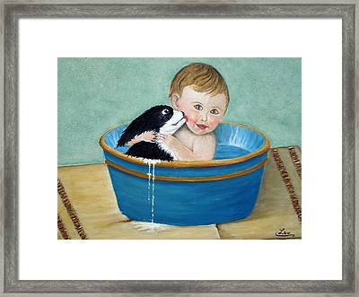 Playing In The Tub Framed Print by Chris Law
