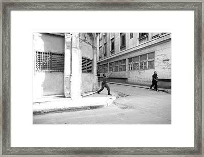 Playing Stickball With A Bottle Cap In Havana Cuba Framed Print