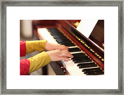 Playing The Piano Framed Print by Datacraft Co Ltd