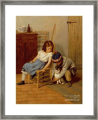 Playing With Kitty  Framed Print by John Morgan