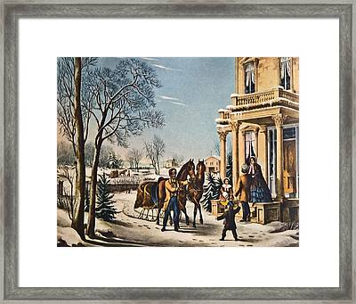 Pleasures Of Winter By Currier And Ives Framed Print by Susan Leggett