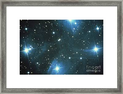 Pleiades Star Cluster Framed Print by Science Source