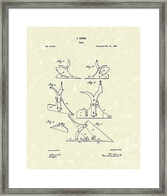 Plow 1866 Patent Art Framed Print by Prior Art Design
