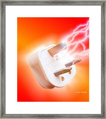 Plug With Electric Current Framed Print