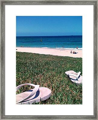 Framed Print featuring the photograph Pluggers At Beach by Therese Alcorn