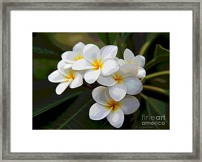 Framed Print featuring the digital art Plumeria - Golden Hearts - Digital Artwork by Kerri Ligatich