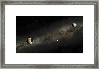 Pluto And Charon Artwork Framed Print by Mark Garlick