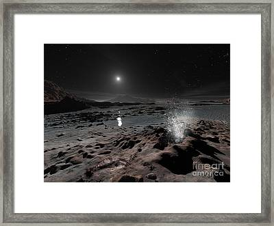 Pluto May Have Springs Of Liquid Oxygen Framed Print by Ron Miller